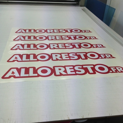 Adhésif découpe de lettres pour Alloresto